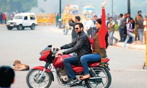 Zoya and Abhay motorbike